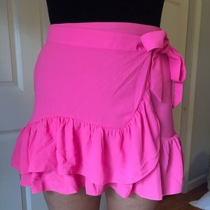 NWT Lilly Pulitzer neon hot pink mini wrap skirt